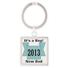 2013 New Dad of Boy Square Keychain