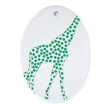 Kelly Green Polka Dot Giraffe Oval Ornament