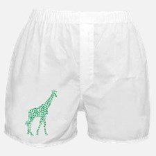 Kelly Green Polka Dot Giraffe Boxer Shorts