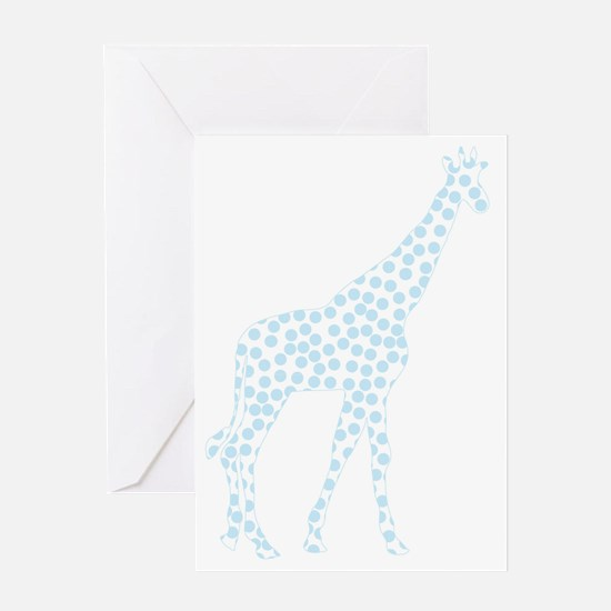 Light Blue Polka Dot Giraffe Greeting Card