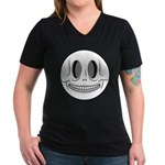 Skull Smiley Face Women's V-Neck Dark T-Shirt