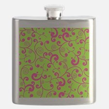 Elegant Lime Green and Pink Scroll Pattern Flask