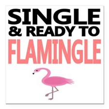 """Single  Ready to Flaming Square Car Magnet 3"""" x 3"""""""