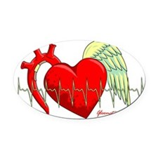 Heart Surgery Survivor Oval Car Magnet