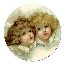 Vintage Victorian Christmas Angel Round Car Magnet