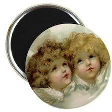 Vintage Victorian Christmas Angels in Heave Magnet