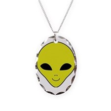Alien Smiley Face Necklace Oval Charm