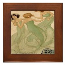 Vintage French Ephemeres Mermaid Showe Framed Tile
