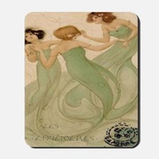 Vintage French Ephemeres Mermaid Shower  Mousepad