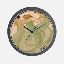 Vintage French Ephemeres Mermaid Shower Wall Clock