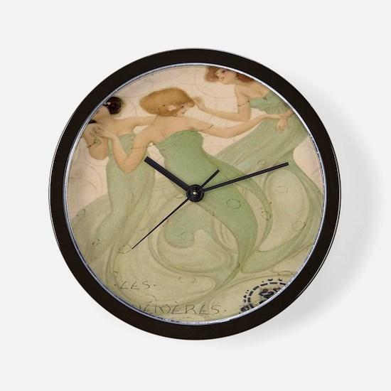 Vintage French Ephemeres Mermaid Shower Wall Clock