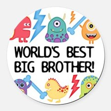 Monsters World's Best Big Brother Round Car Magnet