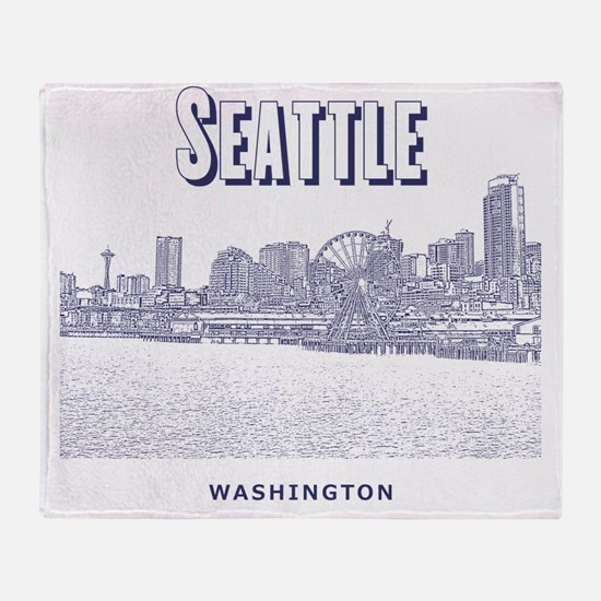 Seattle_10x10_SeattleWatefront_v5 Throw Blanket