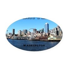 Seattle_11x9_SeattleWaterfront Oval Car Magnet