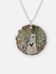 Gustav Klimt Garden Path wit Necklace Circle Charm