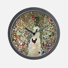 Gustav Klimt Garden Path with Chickens Wall Clock