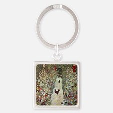 Gustav Klimt Garden Path with Chic Square Keychain