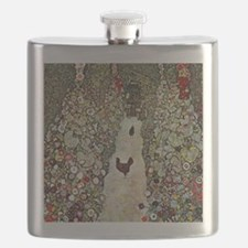 Gustav Klimt Garden Path with Chickens Flask
