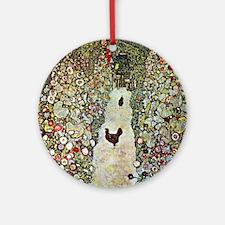 Gustav Klimt Garden Path with Chick Round Ornament