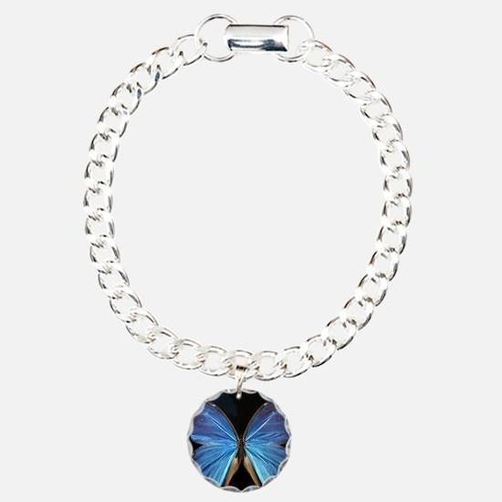 Elegant Blue Butterfly Charm Bracelet, One Charm