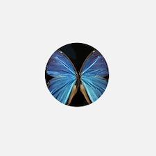 Elegant Blue Butterfly Mini Button
