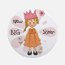 Blond Princess Big Sister Round Ornament
