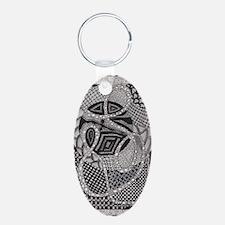 Zen Tangle Inspired Artwork Aluminum Oval Keychain
