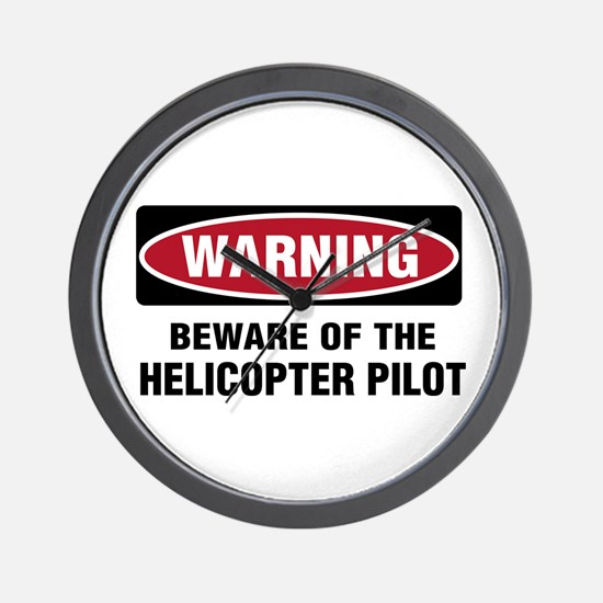 Warning Heli Pilot Wall Clock