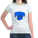 Puppy Dog Design (Dogs Blue) Jr. Ringer T-Shirt