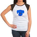 Puppy Dog Design (Dogs Blue) Women's Cap Sleeve T-