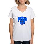 Puppy Dog Design (Dogs Blue) Women's V-Neck T-Shir