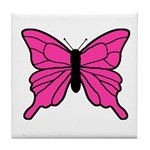 Pink Butterfly Tile Coaster
