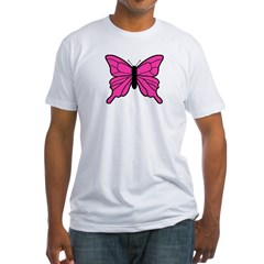 Pink Butterfly Fitted T-Shirt