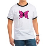 Pink Butterfly Ringer T