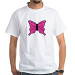 Pink Butterfly White T-Shirt