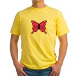 Pink Butterfly Yellow T-Shirt