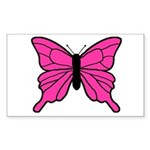 Pink Butterfly Rectangle Sticker