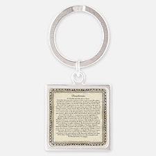 Olde Goth Design Desiderata Poem Square Keychain