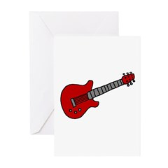 Guitar (Musical Instrument) D Greeting Cards (Pack