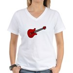 Guitar (Musical Instrument) D Women's V-Neck T-Shi