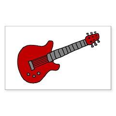 Guitar (Musical Instrument) D Sticker (Rectangular