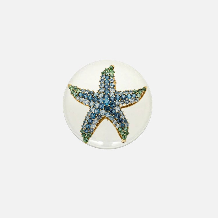 Starfish Vintage Rhinestone Costume Je Mini Button