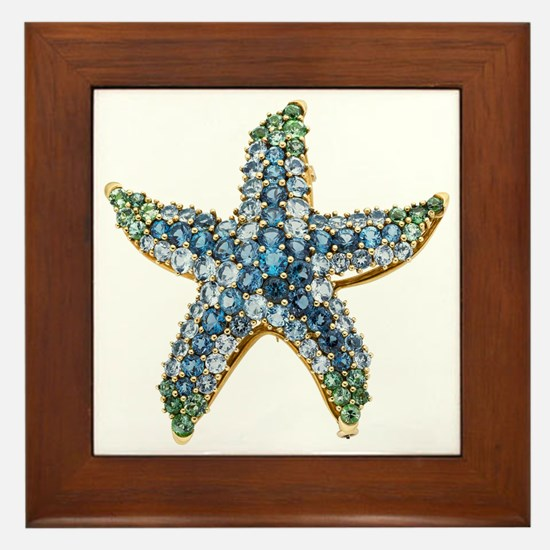 Starfish Vintage Rhinestone Costume Je Framed Tile