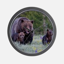 MAMMA GRIZZLY and CUBS Wall Clock
