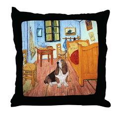 Van Gogh's Room & Basset Throw Pillow