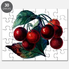 Vintage Cherry Big Red Juicy Cherries Fruit Puzzle