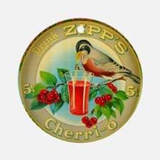 Vintage Bird Cherry Soda Advertisin Round Ornament
