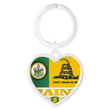 Maine Gadsden Flag Heart Keychain