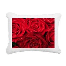 Red Roses Floral Rectangular Canvas Pillow