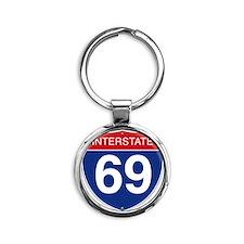 Interstate 69 Round Keychain